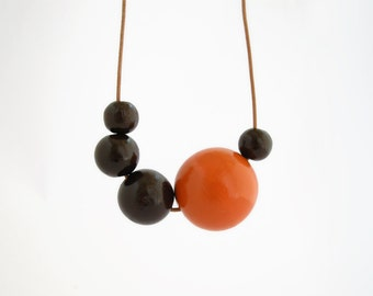 Orange and brown autumn wooden necklace, asymmetric long necklace, fall eco friendly jewelry, wood necklace, minimal jewelry