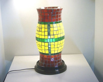 Stained Glass Mosaic Hurricane Style Lamp Shade Table Top Candle Holder Coffee Table End Table