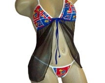 NCAA Kansas Jayhawks Lingerie Negligee Babydoll Sexy Teddy Set with Matching G-String Thong Panty