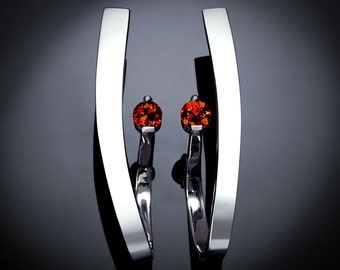 garnet earrings, statement earrings, Argentium silver earrings, January birthstone, Christmas earrings, dangle earrings, for her -  2001