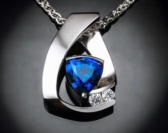 sapphire necklace, September birthstone, blue sapphire, white sapphires, Argentium silver, anniversary gift, luxury gift  3452