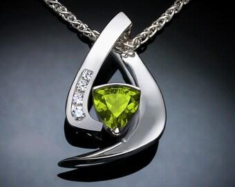 peridot pendant, peridot necklace, August birthstone, gemstone necklace, Argentium silver jewelry, white sapphire, modern jewelry - 3369