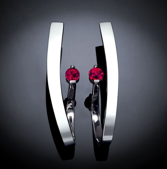 Created Ruby and Silver Earrings