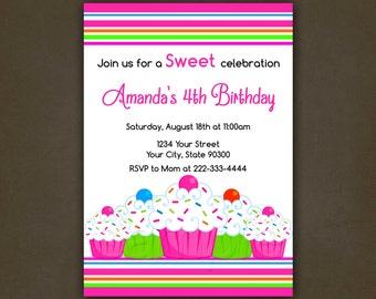 Girls Cupcake Birthday Invitation, Pink, Girl