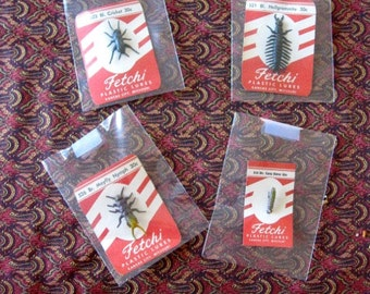 4 Vintage FETCHI Lures fifties On Original Card Unused Mint Kansas City Missouri Fishing Angler