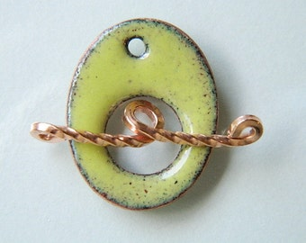Yellow Green Oval Enameled Toggle Clasp with Twisted Copper Wire Toggle Bar
