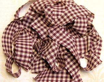 1 yard Homespun Cotton Fabric Ribbon Burgundy Cream Check