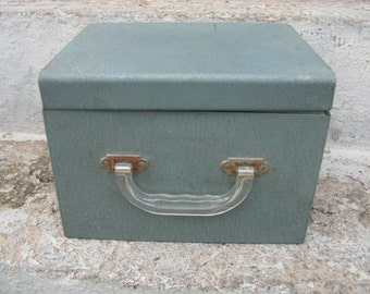 steel file box 3 sections clear lucite handle powder coated vintage office