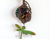 OOAK purple green and orange glass dragonfly charm wire wrapped pendant