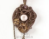OOAK Industrial steampunk pink eye wire wrapped pendant with chains