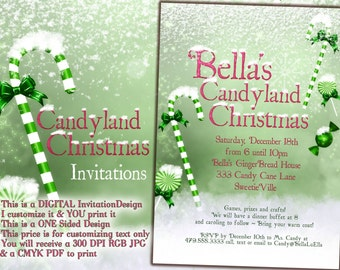 Candy Cane Christmas, Christmas Party Invitations, Holiday Invitations, Holiday Christmas Party