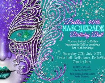 Masquerade Invitation, Party Invitations, Mardi Gras Party, Masquerade Party