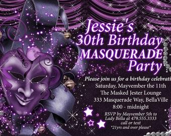 Masquerade Invitation, Mardi Gras Invitation, Masquerade Party, Mens Masquerade, Mardi Gras Birthday Party
