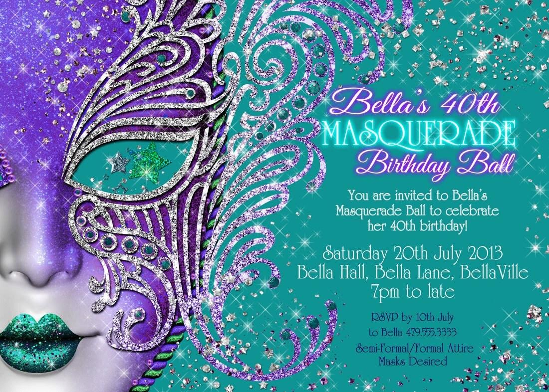 Masquerade invitation party invitations mardi gras party for Masquerade birthday invitations