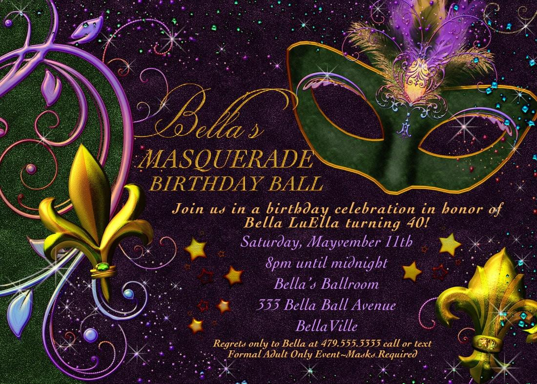 Mardi Gras Wedding Invitations Broprahshow – Mardi Gras Birthday Invitations