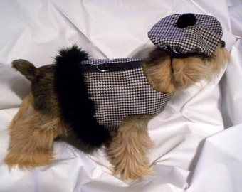 Black / White Houndstooth Harness Vest with Marabou Boa and Hat for Dogs