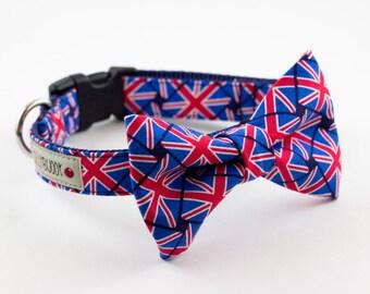 Union Jack Bow Tie Dog Collar