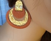 Leather Earrings Accented with Croc Embossed Gold Leather