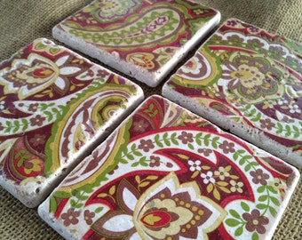 Warm Paisley - Natural Stone Tile Drink Coasters - Set of 4