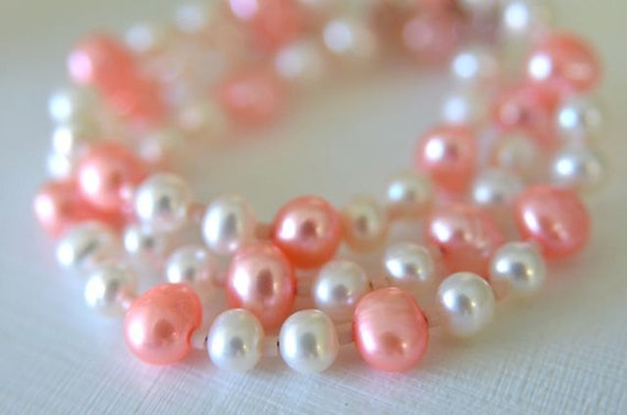 Pink and White Pearl Necklace and Earring Set for Women handmade in Maine from North Atlantic Art Studio