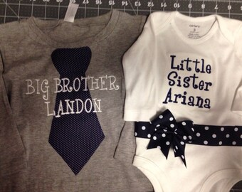 Navy Dot Brother and Sister Matching Set