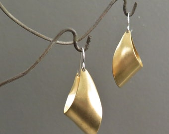 Modern, Classic, & Simple Brass and Sterling Silver Hoop Earrings, Large
