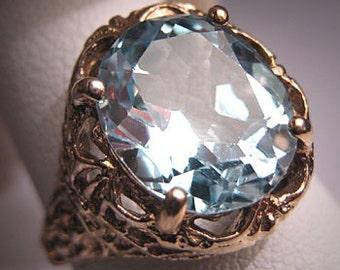 Antique Topaz Filigree Ring Vintage Art Deco Wedding