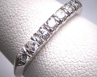 Antique Platinum Diamond Wedding Ring Band Vintage ART DECO 8