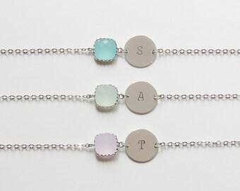 Birthstone & Initial Bracelet   Personalized Bracelet   Initial Bracelet   Birthstone Bracelets   Bridesmaids Bracelet  Choose color initial