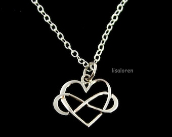 Infinity Heart Necklace - Sterling Silver Sideways Infinity Love, Mothers gift, Mom, Sister Gift, Figure Eight Jewelry