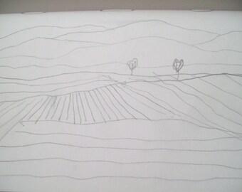 """4""""x6"""" pencil line drawing, landscape"""