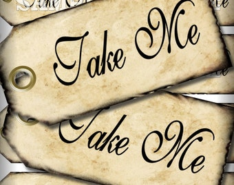 Take Me Tags Alice In Wonderland Party Favors Printable Instant Download Digital Collage