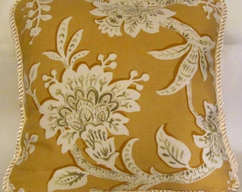 French Country Romantic Cottage Pillow Floral Garden Toile Yellow Ivory Pillow