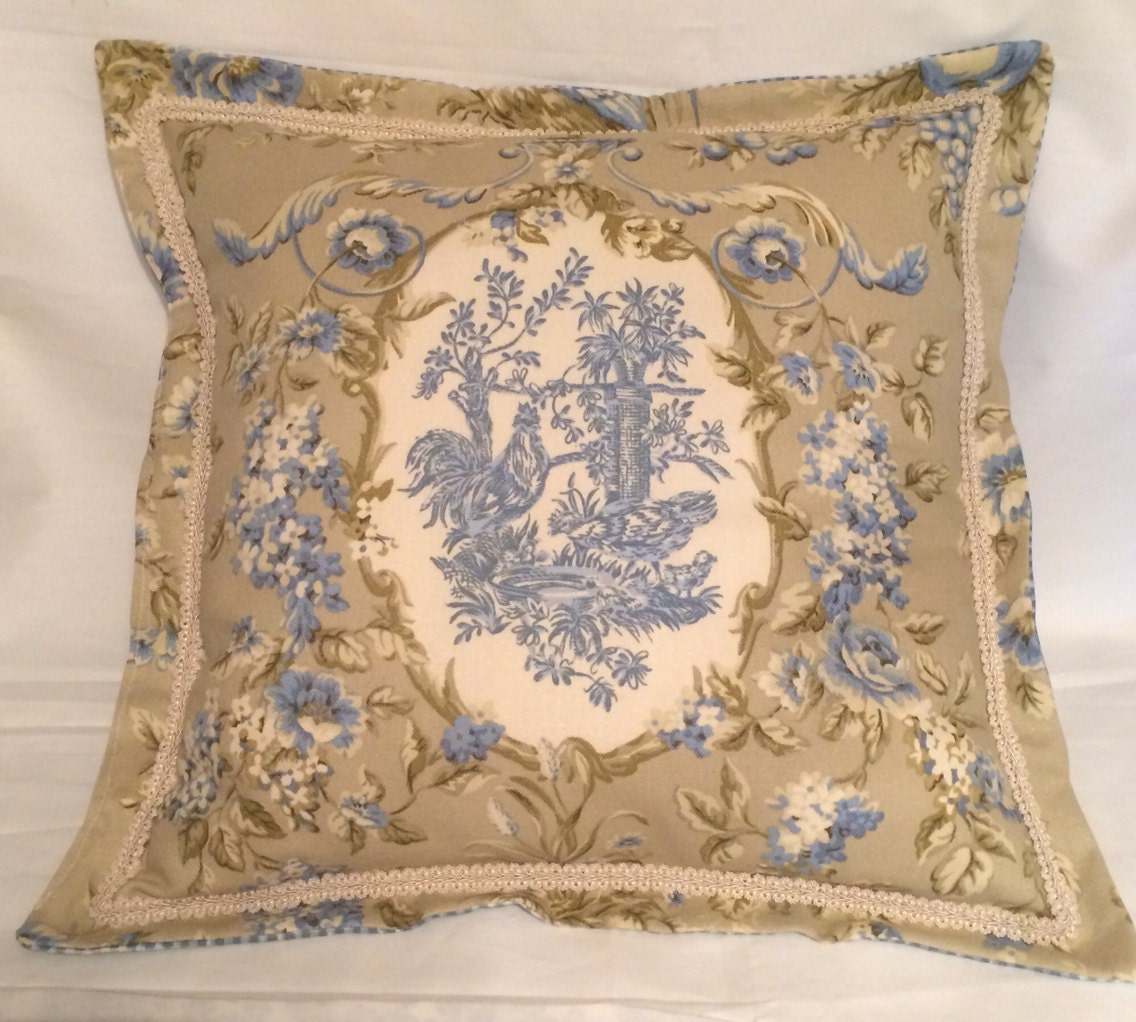 Country French Cottage Rooster Pillow Provence Check Blue