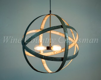 "ATOM -  ""Premier"" - Triple Light Wine Barrel Ring Chandelier  - 100% RECYCLED"