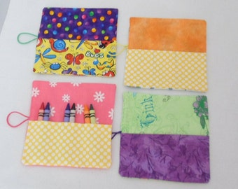 Crayon Roll Ups Party Favors for Boys and Girls Set of 4 Ready to Ship