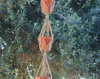 Macrame Plant Hanger 3-TIER 4mm  46in Sand  (Choose Color)