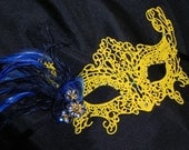Yellow Lace Mask with Navy Blue Feathers and Accents