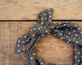charcoal and cream polka dot jersey knit headscarf / retro / stretch headband /tie up headband / adjustable / summer  fall /knotted headband