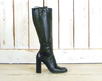 90s black leather chunky high heel knee high boots/motorcycle boots/fitted black leather boots