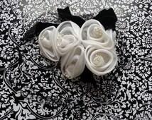 Vintage Black Veil  Black Velvet Ribbon  White Flowers With Pearl Centers Distressed Mid Century 1950s Fascinator
