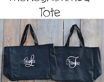 Set of five monogrammed totes