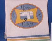 Vintage-Look Cotton Towel with Vintage Trailer Design in BLUE