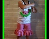 Watermelon Shorts Set with Gingham Ruffle Shorts and Ruffled Watermelon Shirt