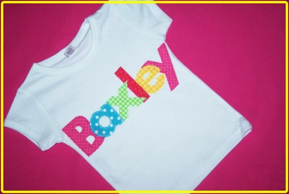 MYSTERY TOP for Girl or Boy - Personalized Applique Name Shirt - Toddler Youth Sizes - White shirt with name in MYSTERY Fabrics