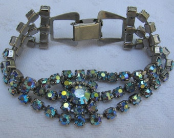 Pretty Rhinestone Bracelet from the 1950's Mad Men Style