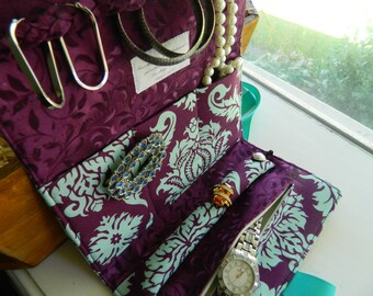 Travel Jewelry Roll, Travel Jewelry Clutch, Travel Jewelry Case, Travel Jewelry Organizer (Bridesmaid Packages Available)