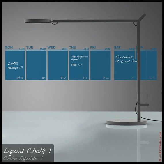 Calendar Liquid Planner : Calendar wall decal week planner liquid chalk pen schedule