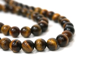 8mm tigereye beads, round natural brown gemstone, full & half strands available  (1007S)