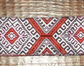 Women's Aztec Pattern Belt in Pink, Orange, and Camel Jacquard Ribbon with Silver D-Rings